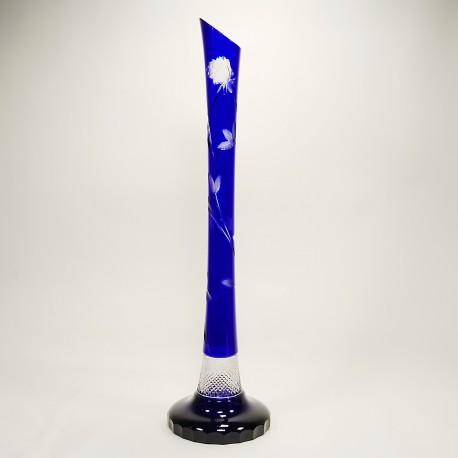 Váza s růží modrá