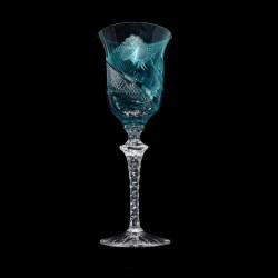 Tyrkysová přejímaná sklenice